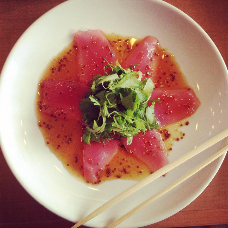 tuna sashimi with mustard ponzu